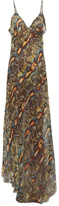Raey Dip Hem Snake Print Sheer Silk Slip Dress - Womens - Multi