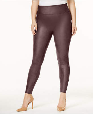 Spanx Women Plus Faux-Leather Tummy Control Leggings