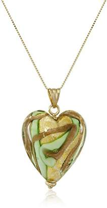 Glass Heart 14k Yellow Gold Murano Necklace
