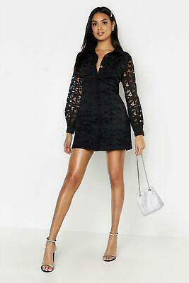 boohoo NEW Womens Lace Volume Sleeve Shirt Dress in Polyester