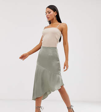 Missguided Tall Exclusive satin midi skirt with asymmetric hem in sage