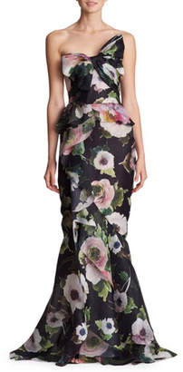 Marchesa Strapless Floral-Print Silk Moire Evening Gown w/ Draped Bow & Corset
