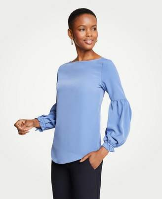Ann Taylor Ruffle Balloon Sleeve Top