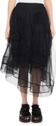 Simone Rocha Organza Asymmetric-Hem Tulle Skirt