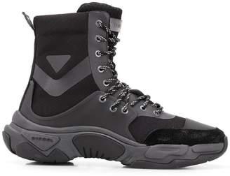 Diesel mid-top sneakers in technical fabric