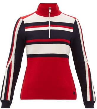 Bogner Dafne Striped Zipped Wool Blend Sweater - Womens - Red