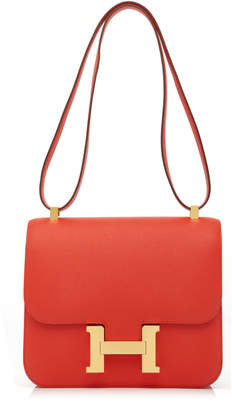 Hermes Heritage Auctions Special Collections 24cm Rouge Pivoine Epsom Leather Constance