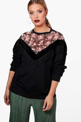 boohoo Plus Floral Tassel Sweatshirt