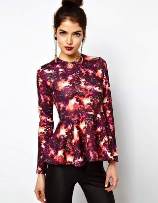 Asos (エイソス) - ASOS Top with Peplum in Space Print