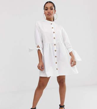 Asos DESIGN Petite grandad collar button through mini smock dress with tie sleeve