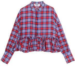 MSGM Ruffled Checked Cotton Peplum Shirt