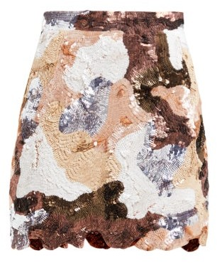 Ashish Patchwork Effect Sequinned Mini Skirt - Womens - Brown Multi