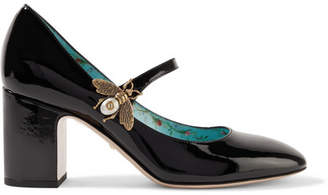 Embellished Patent-leather Mary Jane Pumps - Black