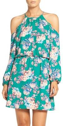 Women's Charles Henry Cold Shoulder Woven Blouson Dress $78 thestylecure.com