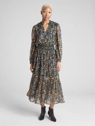 Gap Floral Print Long Sleeve Smocked Midi Dress