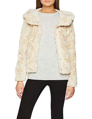 Vero Moda Women's Vmcurl Hoody Faux Fur Short Jacket Boos Jacket,(Manufacturer Size: Large)