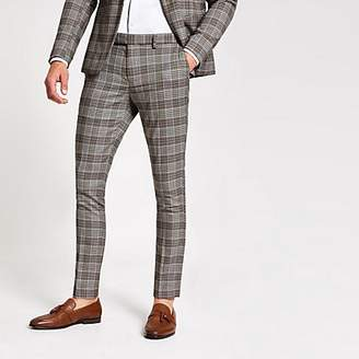River Island Brown check super skinny suit trousers