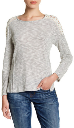 SUSINA Striped Eyelet Yoke Shirt (Petite) $29.97 thestylecure.com