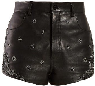Saint Laurent High Rise Embroidered Leather Shorts - Womens - Black Silver