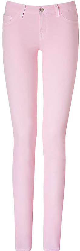 J BRAND Pretty Pink Low Rise Pencil Leg Jeans