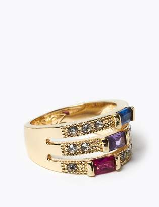 M&S CollectionMarks and Spencer Gold Plated Gem Multi Band Ring