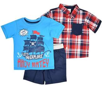 Nannette Baby Toddler Boy Short Sleeve Sleeve Back-Graphic Plaid Woven Shirt, T-shirt & Shorts, 3pc Outfit Set