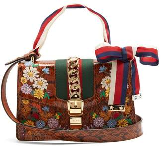 Gucci Floral Embroidered Watersnake Shoulder Bag - Womens - Brown Multi