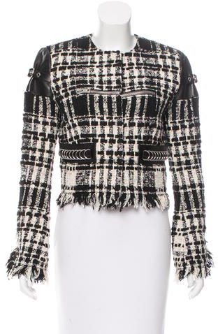 Alexander Wang Alexander Wang Leather-Accented Bouclé Jacket w/ Tags