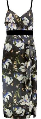 Cinq à Sept Leena Velvet-Trimmed Ruffled Printed Silk Dress