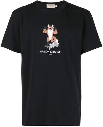 MAISON KITSUNÉ fox cross stitch logo T-shirt