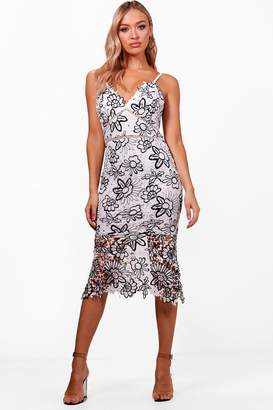 boohoo Boutique Floral Lace Back Midi Dress