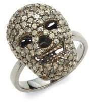 Champagne Pavé Diamond and Sterling Silver Skull Cocktail Ring