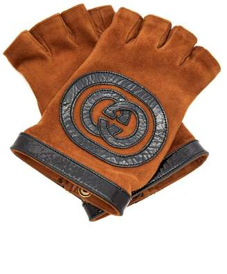 Gucci Suede and leather fingerless gloves