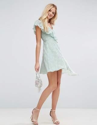 Asos Design Ruffle Tea mini dress in Heart Dobby with Asymmetric Hem