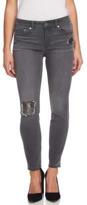 CeCe Sequin Rip Skinny Jeans