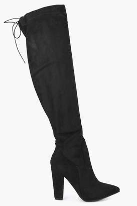 boohoo Over The Knee Pointed Block Heel Boots