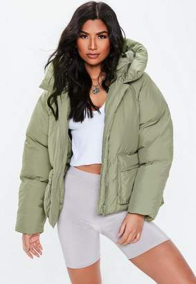 Missguided Petite Green Oversized Hooded Ultimate Puffer Jacket