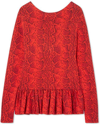 Chloé Snake-effect Jacquard-knit Peplum Top - Red