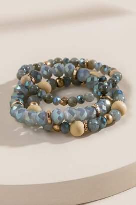 francesca's Katie Semi-Precious Beaded Bracelet Set - Gray