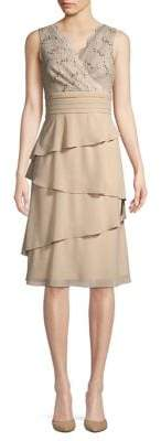 Eliza J Asymmetric Lasercut Lace Dress with Scarf