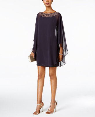 Xscape Embellished Chiffon Cape-Overlay Dress $189 thestylecure.com