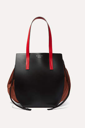 Marni Color-block Leather And Shell Shoulder Bag - Black