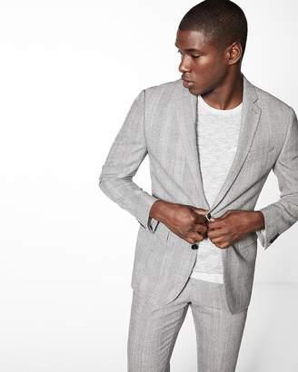 Express Slim Gray Plaid Wool Blend Suit Jacket
