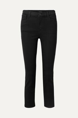 J Brand Ruby Cropped High-rise Slim-leg Jeans - Black