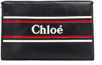 Chloé Logo & Stripe Pouch in Full Blue | FWRD