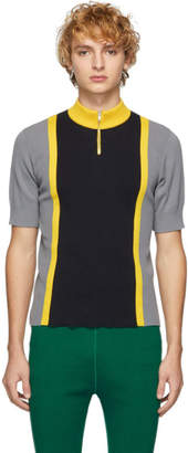 Marni Grey and Black Half-Zip T-Shirt