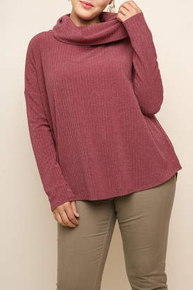 Umgee USA Garnet Ribbed Sweater