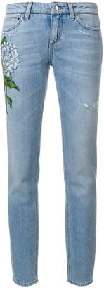 Dolce & Gabbana floral patch straight-leg jeans