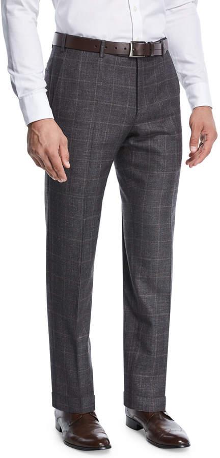 Zanella Grid-Checked Wool Trousers