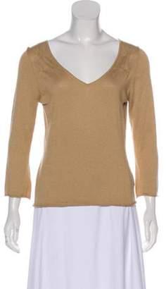 Burberry Silk & Cashmere Long Sleeve Top Tan Silk & Cashmere Long Sleeve Top